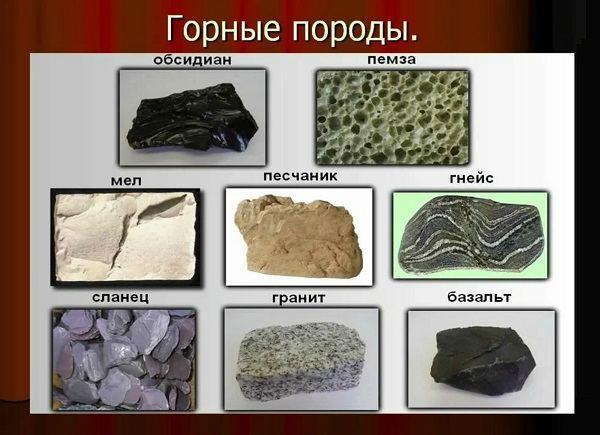 Горные породы виды